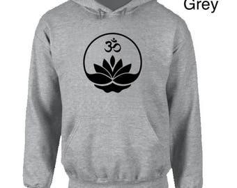 Lotus Flower Om Hoodie,yoga clothing,mindfulness,meditation,om,chakras,asanas,yoga gear,yoga apparel,keep calm hoodie,mantra,keep fit hoodie