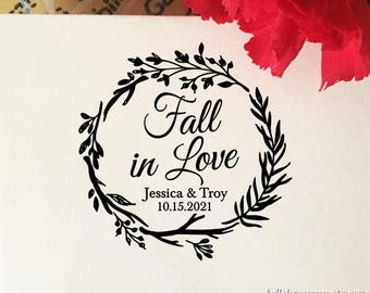 Fall in Love Stamp, Wedding Favor Stamp, Self Inking, Wooden Rubber Stamp, Custom Fall Wedding Stamp, Autumn Wreath, Personalized Stamp