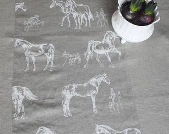 Horses tablecloth Linen table cover Grey white horses Natural linen dining tablecloth Table linens Large flax linen Stone washed linen Gift