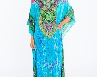 kaftan, digital print kaftan, caftan dress, plus size dress, beach kaftan dress free size dress in BLUE maxi caftans