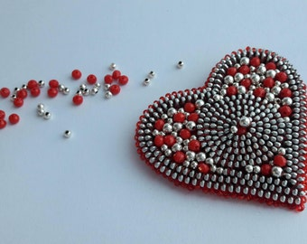 Valentine heart gift White red brooch Valentine brooch Red Heart pin Zipper heart Zipper jewelry Heart brooch Unique brooch Original brooch