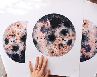 Pink Moon, Moon Art, Luna