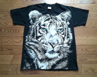 Vintage 1995 Siberian Tiger Huge All Over Print t-shirt Made in USA large