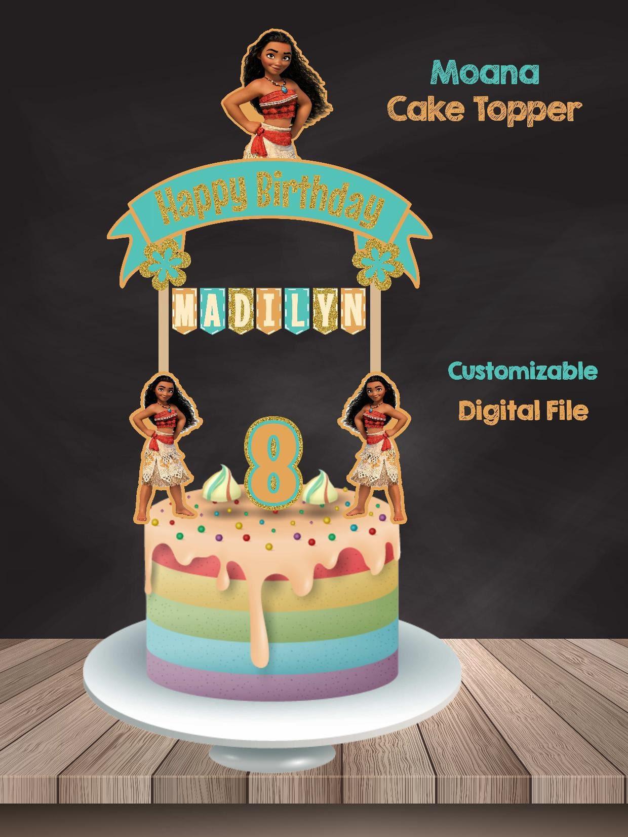 Moana Cake Topper Moana Banderin Moana Birthday Moana