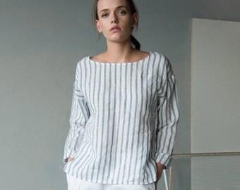 White blue stripe linen top, long sleeve linen tshirt, loose fitting linen short tunic top, linen blouse