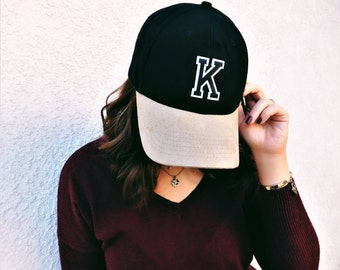 Monogram Initial Baseball Hat With Embroidered Patch - Personalized Baseball Hat - Suede Baseball Cap - Monogram Letter Patch Baseball Hat