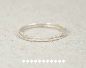 Two Super Skinny Stacking Rings, Silver Stacking Rings, Hammered Stacking Rings, Thin Silver Ring, Minimalist Jewelry, Minimalist Boho Ring