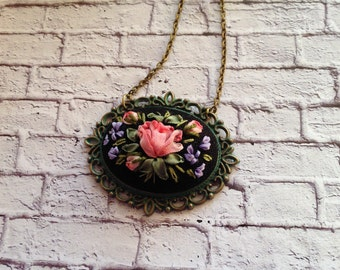 Embroidered pendant Embroidered jewelry Pink rose necklace Silk ribbon Vintage style Pink blue flowers Floral necklace Pink black necklace