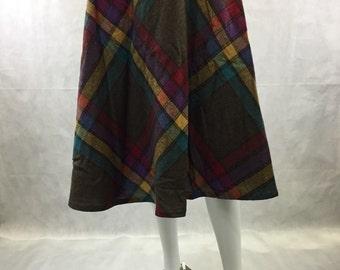 "70's Bias Plaid Below Knee Length Skirt Purple Brown Yellow Blue Red  28-29"" Waist Size Medium Tartan Skirt A-line Side Button Year Round"
