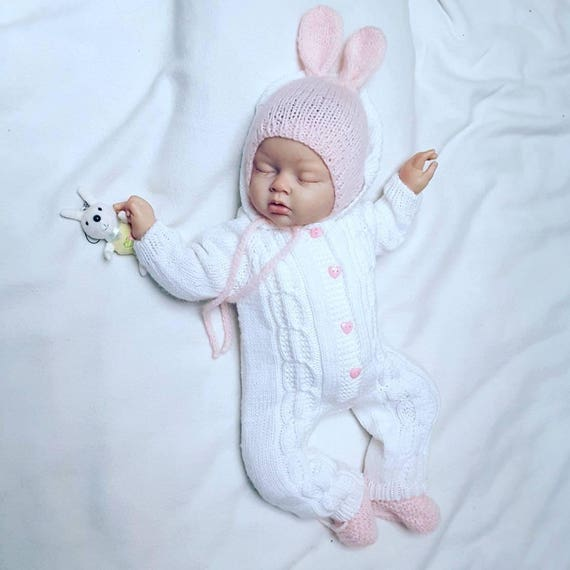 Baby Knitted White Jumpsuit Knitted Baby Clothes Baby Knit
