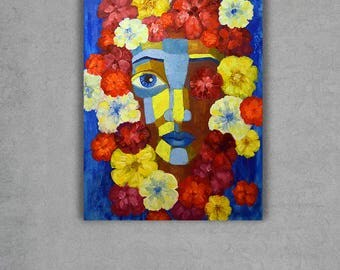 Modern Abstraction painting Lady flower Abstract art Original Oil painting Flower Girl portrait  Contemporary painting Oil on canvas