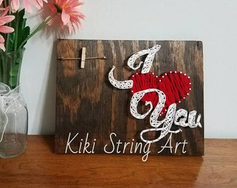I LOVE YOU string art, love picture, wall decor, home decor, valentine day gift, Wood sign, Picture holder, Family picture frame