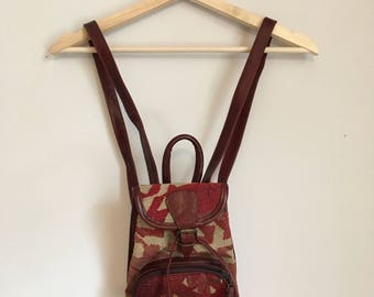 Leather canvas mini backpack, 70s, western style, hippy, *vintage*