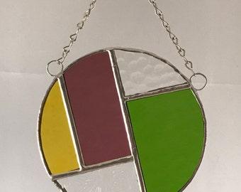 Round Suncatcher - Purple/Green/Yellow/Textured Clear