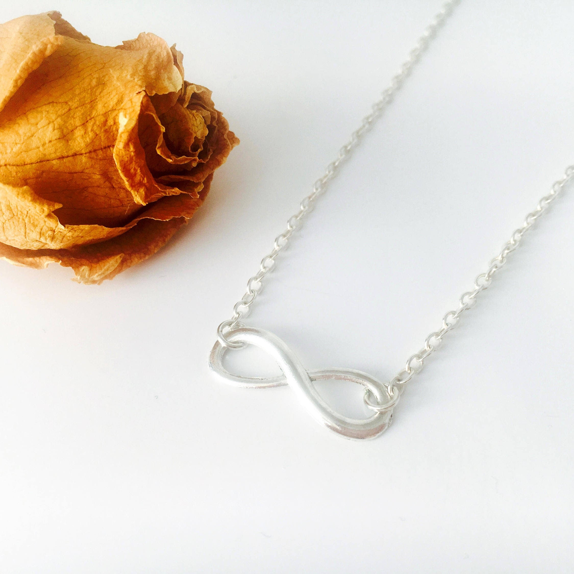 silver infinity sterling brides bridesmaid listing dainty necklace bridesmaids il fullxfull