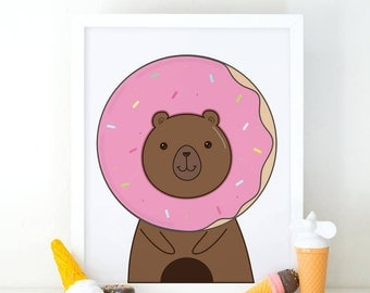 Donut Bear, Kids wall art, printable wall art, kids Print, room decor, Donut print, cute donut, nursery wall art, Nursery art, doughnut art