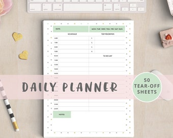 Lovely daily planner notepad A5. Day planner 2017, day designer planner, action day planner, planner with notepad, planner pad, hourly, do1p