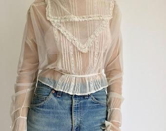 Vintage Sheer Victorian Blouse   White Victorian Shirt   White Edwardian Shirt   Sheer Antique Blouse   Antique Blouse Netting