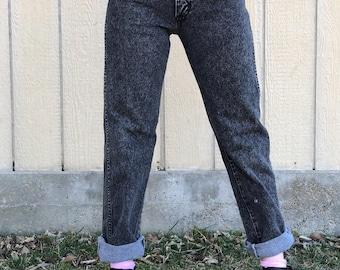 Black acid wash Wrangler jeans, 28, High waisted jeans, High waist jeans, Black High Waisted Jeans