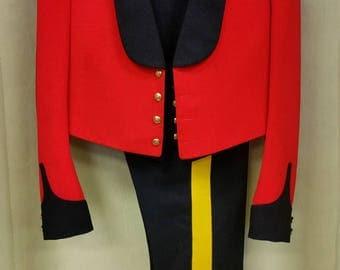 RCMP Mess Uniform Including Dress Jacket with Rank Badges, Striped Blue Pants, Vest, Bowtie and Spurs, MUSEUM QUALITY