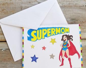 Mom Card - Supermom - Super Mom Card - Funny Card for Mom - Card for Mom - Funny Mother's Day Card - Mother's Day Card - Customizable Cards
