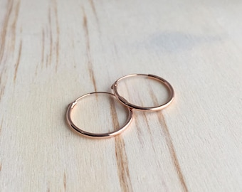 16mm Rose Gold Hoop Earrings - Rose Gold Plated - tiny hoop earrings - cartilage hoop earrings - silver hoop earrings - gold hoop earrings