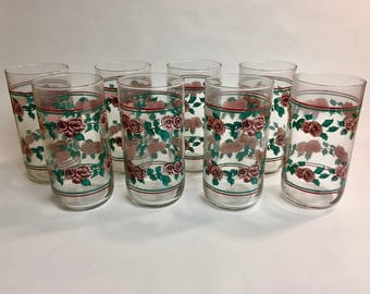 Vintage Libbey Rose Tumblers Set of 8 | Vintage Libbey Glass | Libbey Glasses |  Vintage Tumblers | Floral Tumblers | Flower Tumblers