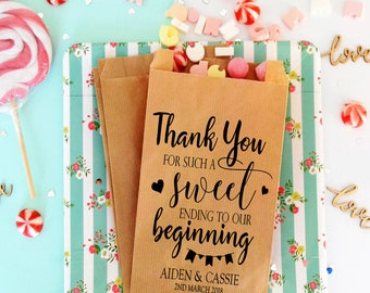 Wedding favor bags for sweetie table, sweet ending wedding quote treat bags for candy