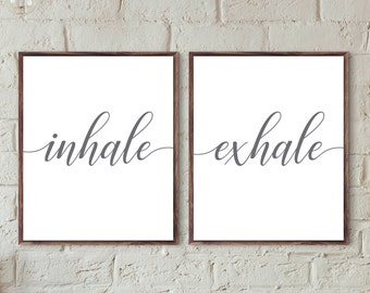 inhale exhale printable download bedroom wall art set inspirational quotes above bed decor breathe yoga Pilates poster modern home prints