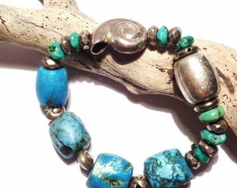 Silver bracelet 925 and turquoise genuine stretch
