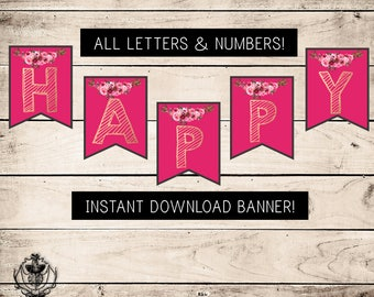 Printable Floral BANNER, INSTANT DOWNLOAD, Printable Banner, Pink, Rose Gold, Flower Banner, Watercolor Banner, All Letters, All Numbers