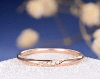 Wedding Band Diamond Wedding Ring Rose Gold Tiny Anniversary Minimalist Pave Engraving Matching Simple Bridal Stacking Ring Thin Gold Band