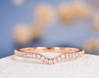 Curved Custom! Diamond Ring Rose Gold Wedding Band Women Stacking Curved Half Halo Anniversary Promise Engraving Gift Dainty Birthday Gift