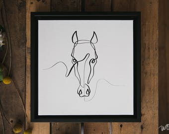 Horse Art | Horse Canvas | Horse Print | Equine Gift | Line Art | Horse Drawing | Framed Horse Gift | Single Line | Contour Line | One Line