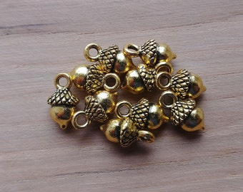 10 x Zinc Alloy Gold Acorn Charms for Jewellery Making