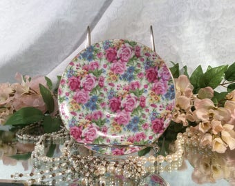 "Royal Sealy, Japan ""All-Over Roses"", Tea Saucer with Gold Trim"