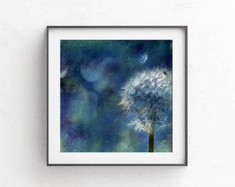 Indigo wall print, Dandelion art, indigo wall art, digital photography, Dandelion print, Printable art, navy blue wall decor, commercial use