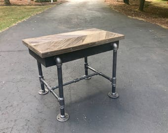 Rustic End Table With Industrial Pipe Legs, Reclaimed Chevron Style Barnwood  Side Table, Console