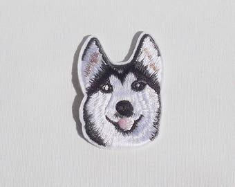 Husky patch, Husky dog iron on patch, Iron on dog patch, Iron on applique, Doggie patch, Dog applique, Embroidered dog sew on patch