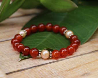 No. 42 Carnelian, Fresh Water Pearl and Sterling Silver Stretch Bracelet