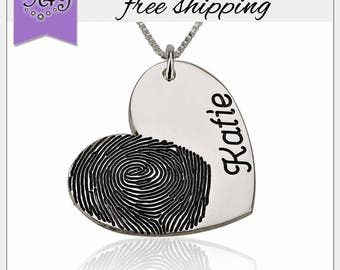 29% OFF* Fingerprint Jewelry • Actual Fingerprint Name Pendant • Heart Necklace • Personalized Gift • LOVE Jewelry • Valentine Gift • SN1196