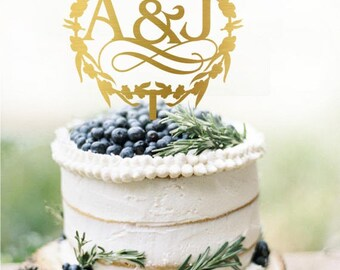 Customized Initials Wedding Cake Topper, Personalized Cake Topper for Wedding, Custom Personalized Wedding Cake Topper, Monogram Cake Topper