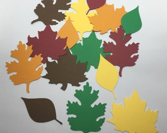 30 Cardstock Die Cut Fall / Autumn Leaves
