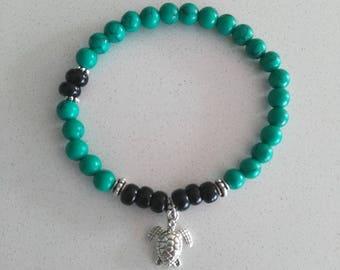 Bracelet was boho green turquoise turtle yoga - Turtle charm Summer green turquoise beads bracelet