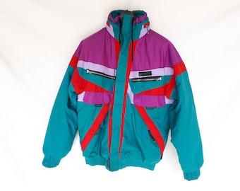 Jacket WANNABEE 90's vintage jacket, green, turquoise, purple, red L