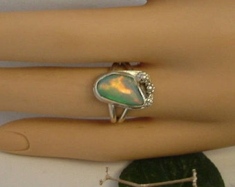 Ethiopian Fire Opal Ring Sterling Silver Size 9 Large Gem Statement Ring Statement Jewelry Red Pink Orange Green Yellow Blue Purple 413 B