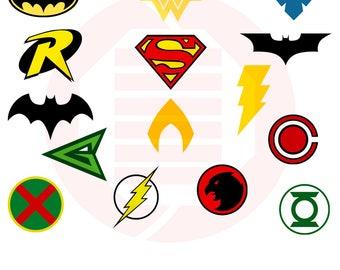 Superhero SVG Justice League symbol decal clipart cut file Superman Batman Batgirl Wonderwoman birthday party decor mother day gift cosplay