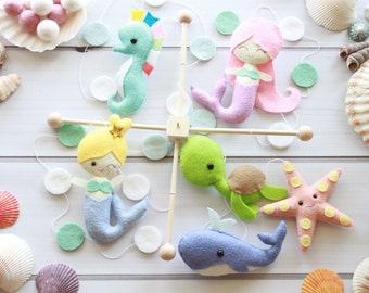 Mermaid Baby Mobile, Little Mermaid Mobile, Sea Creatures Mobile, Ocean Mobile, Baby Mobile, Nursery Decor