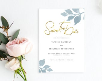 Printable Save The Date | Modern Classic Elegant Design | Gold Foil Effect | Wedding Save The Date | DIY Printable Invitations