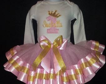 Personalized Embroidered Birthday Princess Tutu Shirt Onesie Gold Crown Age Name Ribbon Trim Bodysuit